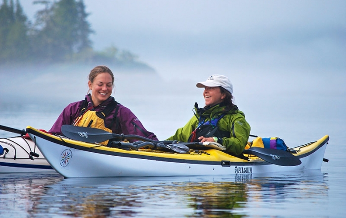 Happy Paddlers, Spirit of the West Adventures kayaking expeditions to Johnstone Strait and Broughton Archipelago, British Columbia, Canada