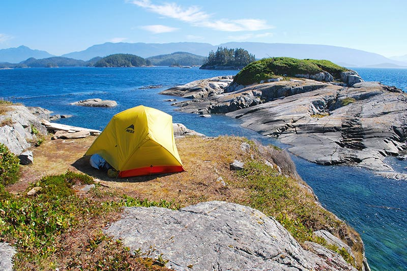 Campsite, Spirit of the West Adventures kayaking expeditions to Johnstone Strait and Broughton Archipelago, British Columbia, Canada