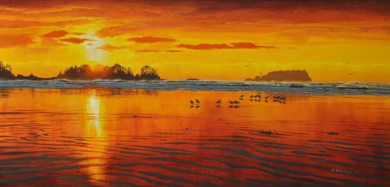 10 Tofino Artists You Need to Know, Mark Hobson, Chesterman Beach Sunset over Frank Island, Pacific Sands Resort, Vancouver Island, British Columbia