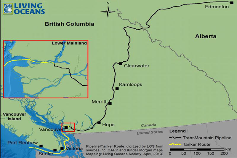Kinder Morgan pipeline costs rise by over $1 billion. British Columbia, Canada.