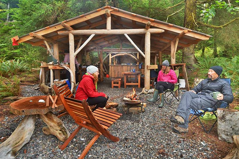 Camp Kitchen: Orca Dreams offers kayaking, whale watching and luxury camping on Compton Island, Blackney Pass, British Columbia