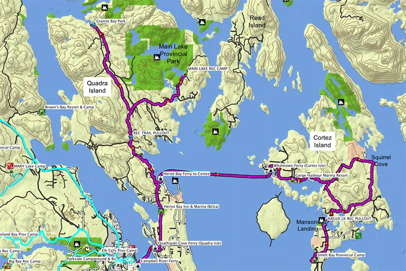 Quadra Island Bike Map