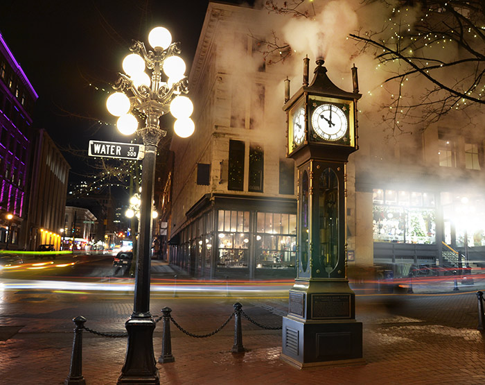 The Gastown Steam Clock in Vancouver, British Columbia, Canada