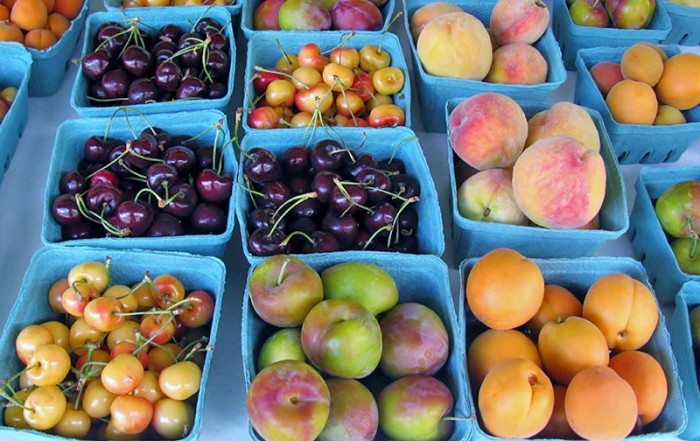 Fresh locally-grown fruit in the Okanagan Valley, British Columbia